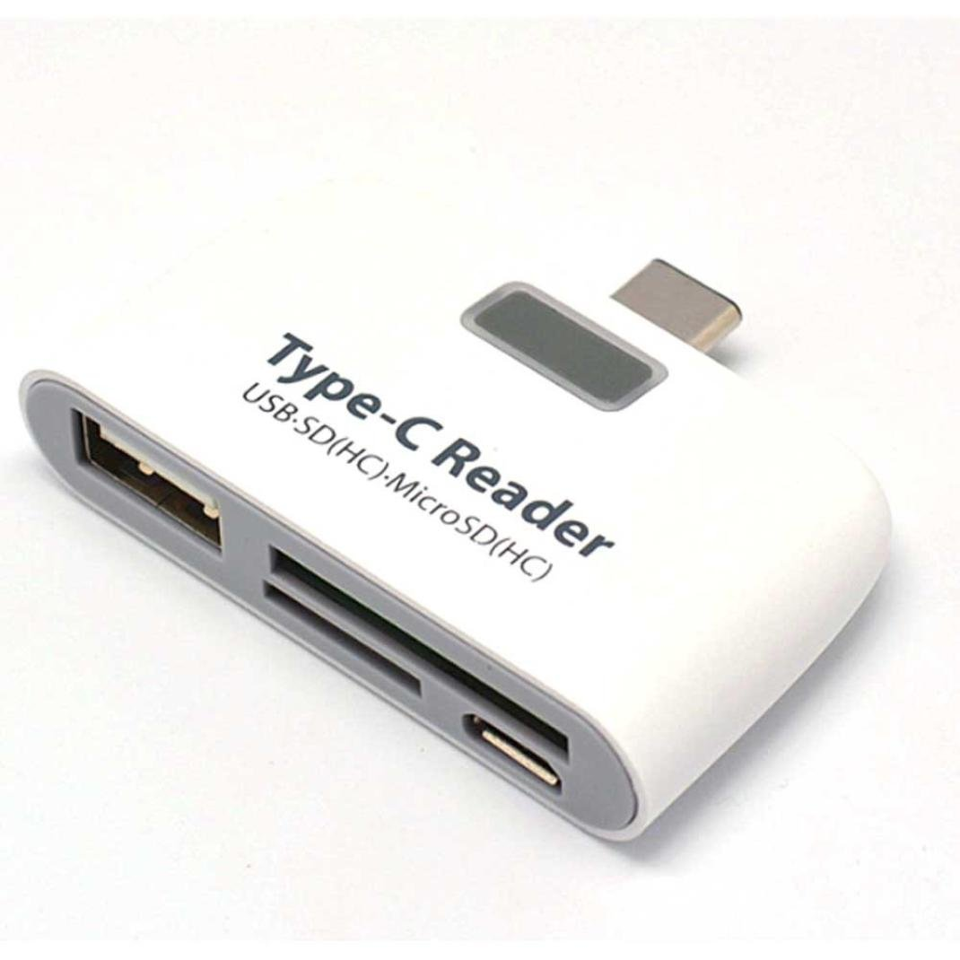 ONEMORES(TM) 4 In1 USB 3.1 Type C USB-C TF Micro SD OTG Card Reader (White)