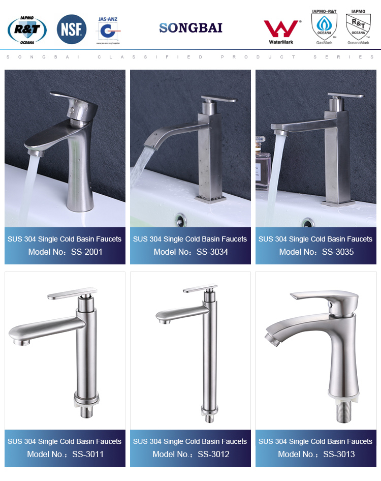 China sanitary ware hotel single handle tall body cold basin faucet SUS 304 home type basin faucet stainless steel