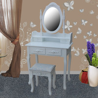 French provencial white wooden 4 drawers dresser table set with mirror
