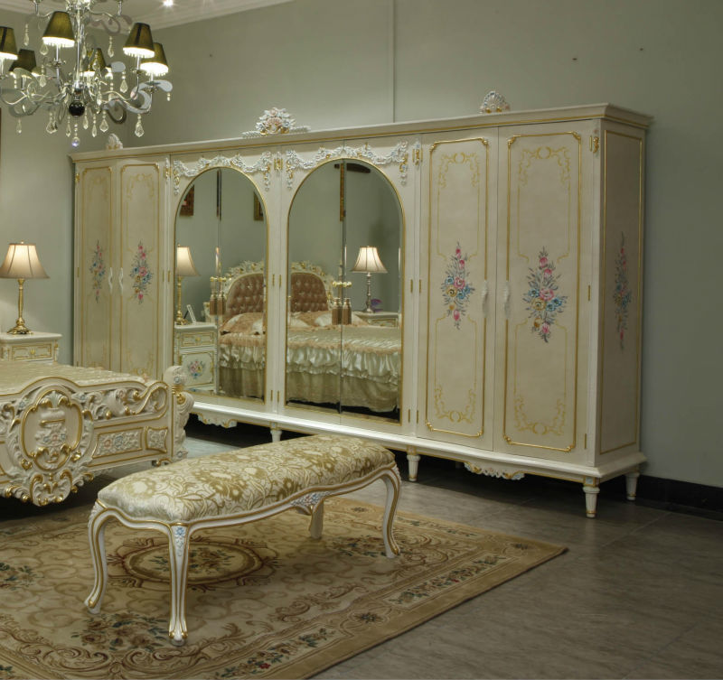 French Provincial Bedroom Furniture Wardrobe With Mirror Reproduction Antique Baroque European