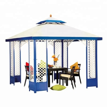 European Style 3*3m Square Aluminum Rattan Gazebo Tent with polyester top fabric