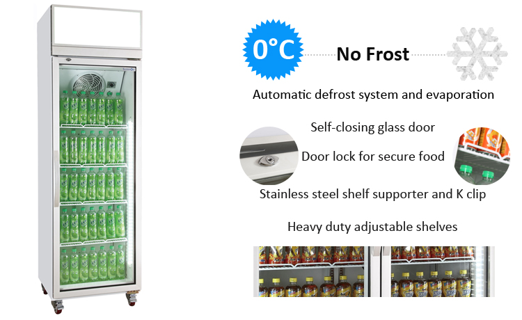 285W 360L TOP mounted display fridge for store