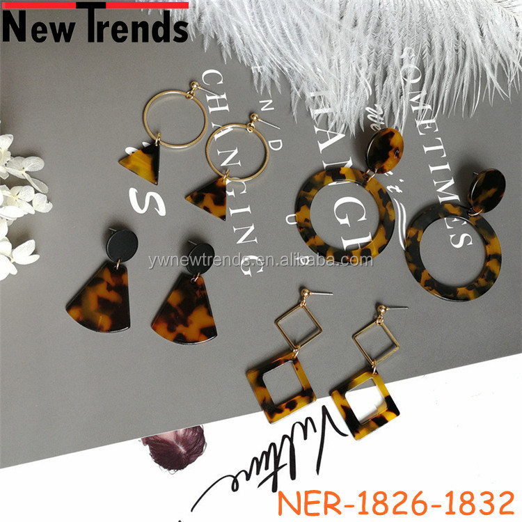 High quality exaggerated geometry acetate tortoise shell fashion dangle earring