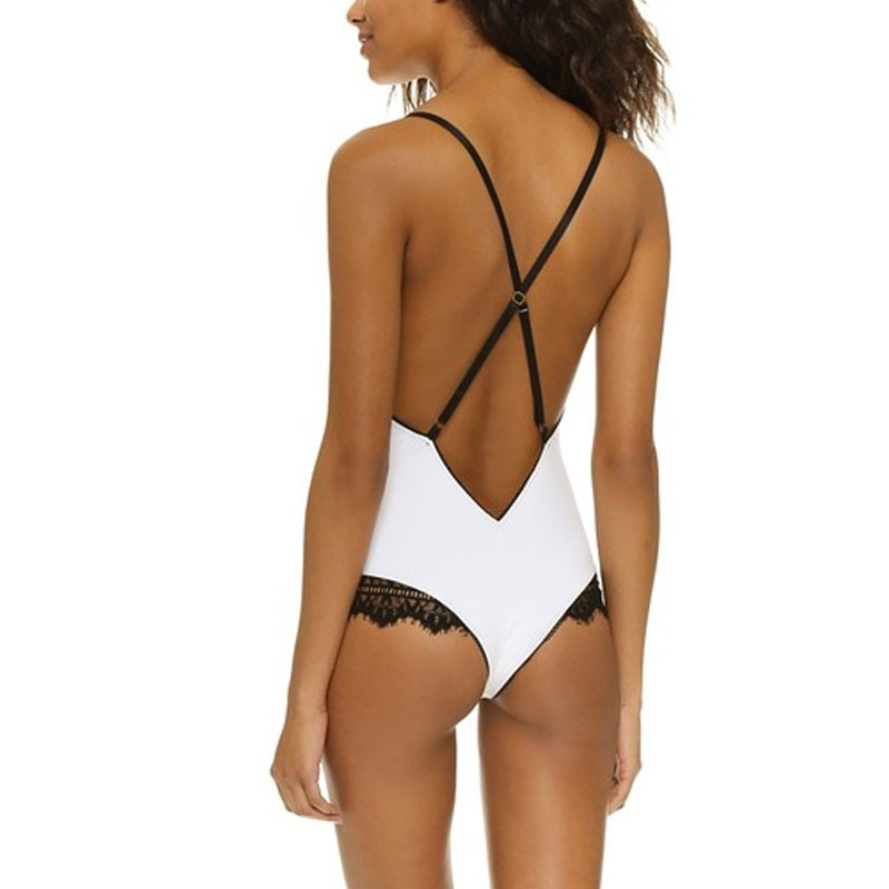 Eyelash Trim Bodysuit bodysuit with a deep V neckline contrast lace trim