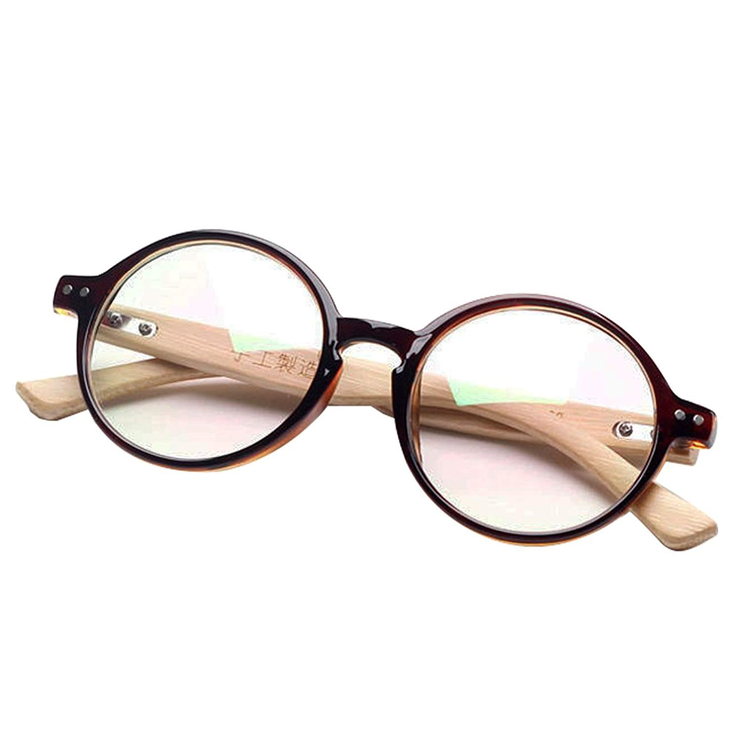 Brown Handmade Bamboo Vintage Retro Round Tortoise Eyeglass Frames Spectacles Eyewear wire without prescription lenses boys