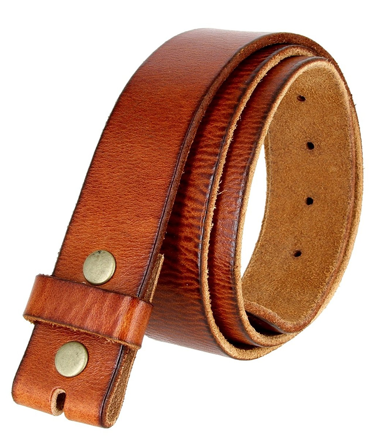 "BS-40 Vintage Full Grain One Piece 100% Leather Style Snap on Belt Strap 1 1/2"" Wide"