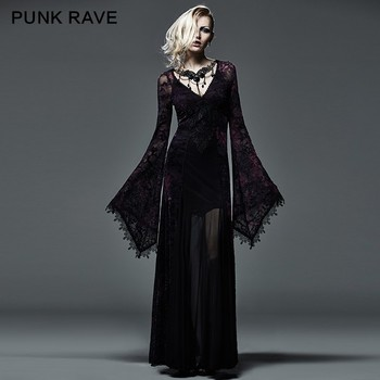 Q 265 Sexy Women Long Sleeve Purple Slinky Long Dress Gothic Formal