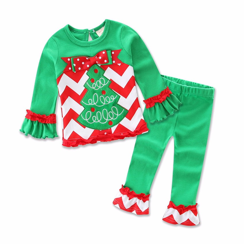 2016 Cotton Outfits Kid Clothes For Christmas Pajamas