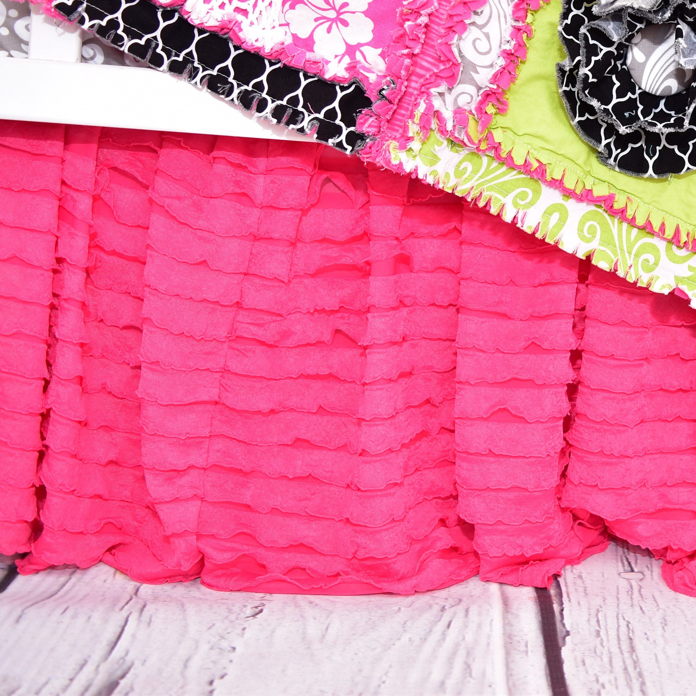 Hot Pink Ruffled Crib Skirts - Extra Long Dust Ruffle 3 Sided Baby Bedskirt for Girl Nursery Bedding