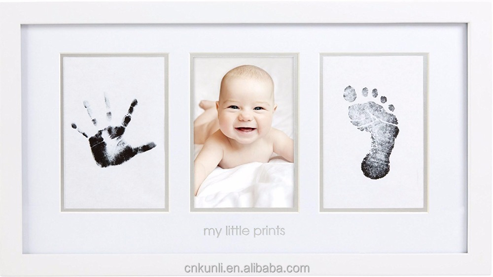 hot sale Babyprints Newborn Baby Handprint and Footprint Photo wooden Frame Kit,