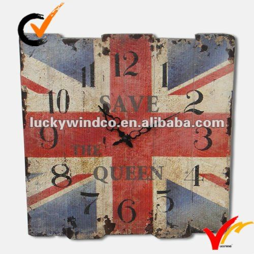 Shabby chic wooden wall clock