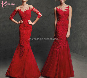 Plus Size Long Elegant Lace Fabric Red Short Sleeve Evening Dress