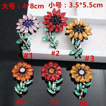 4*8cm GUGUTREE handmade beaded embroidery sew on flower patches,embroidered pearls crystals appliques,brooches BBP-36