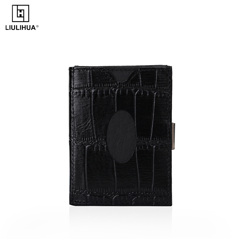 Factory Price crocodile leather Business Wallet With Stainless Steel Lock mens slim genuine leather mini purse smart wallet