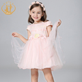 2016 Summer Latest Girls Clothes Handmade Colorful Flowers Print Organza Cute Bow Princess and Party Girl