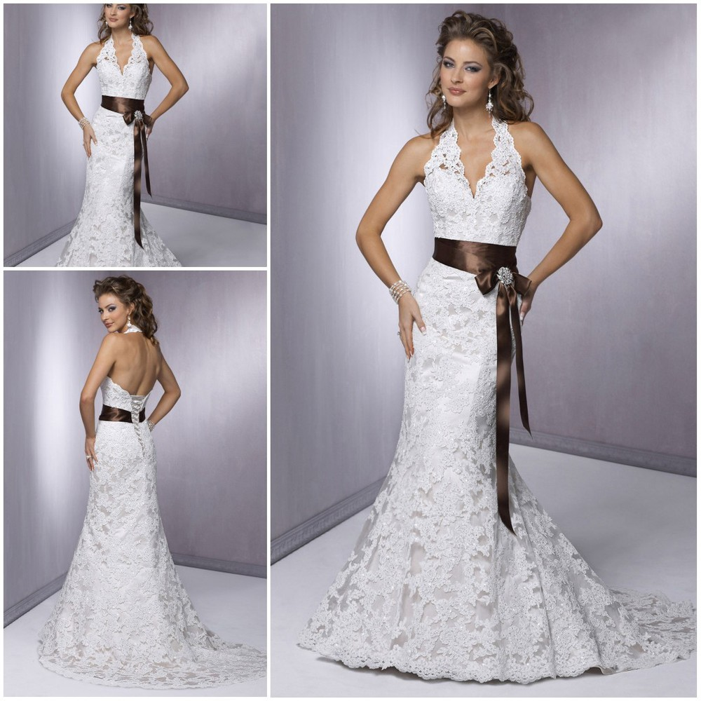 Discount Designer Wedding Gowns: In Stock Cheap Elegant V Neckline Lace Fashion Designer