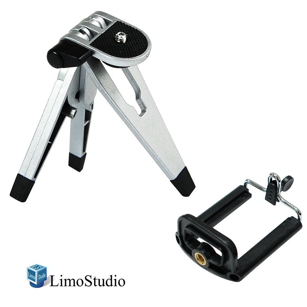LimoStudio Cell Phone Tripod Stand Solid Metal Leg and Body with Smart Phone Holder Spring Clip for Iphone, Samsung Galaxy, Cellphone, Light Stand Tripod with 1/4 Inch Screw, Photo Studio, AGG2094