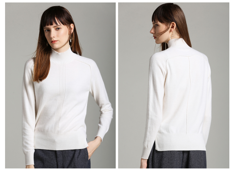 Fashion new arrival knitted pure cashmere wholesale women turtleneck sweater pullover