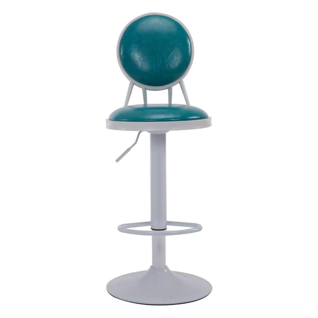 Wei Hong Home Breakfast stools Office stools Beauty salon stools Wrought iron bar stools Lifting stool 306° swivel stool Adjustable height (Color : Sky blue, Size : 304295cm)