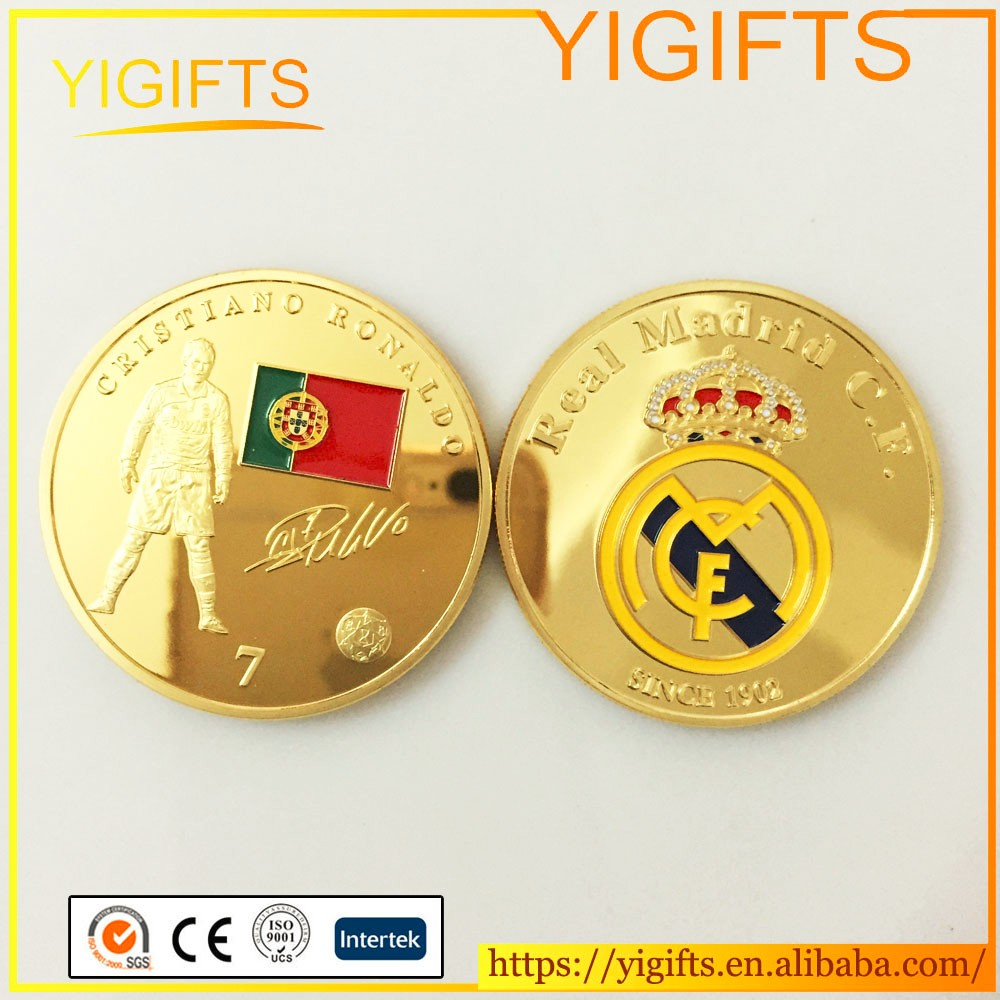 Sport Football Famous Player Coin Gold plated Round Coin Metal <strong>Crafts</strong> wholesale