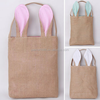 Whole Bunny Easter Plastic Lining Burlap Gift Bags With Handles