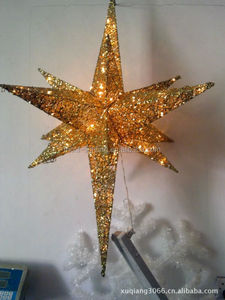 glitter Christmas hanging star with LED light