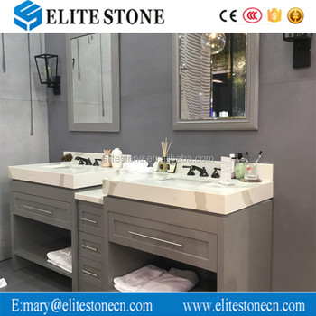 Custom Hotel Bathroom Calacatta Quartz Stone Vanity Tops Lowes