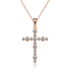 Wholesale Stock Female Gift Gold Cubic Zircon Cross Pendant Necklace