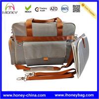Unisex Nautical Navy & Cream Stripe Baby Diaper Bag Designer Fashion Maternity Tote Bag