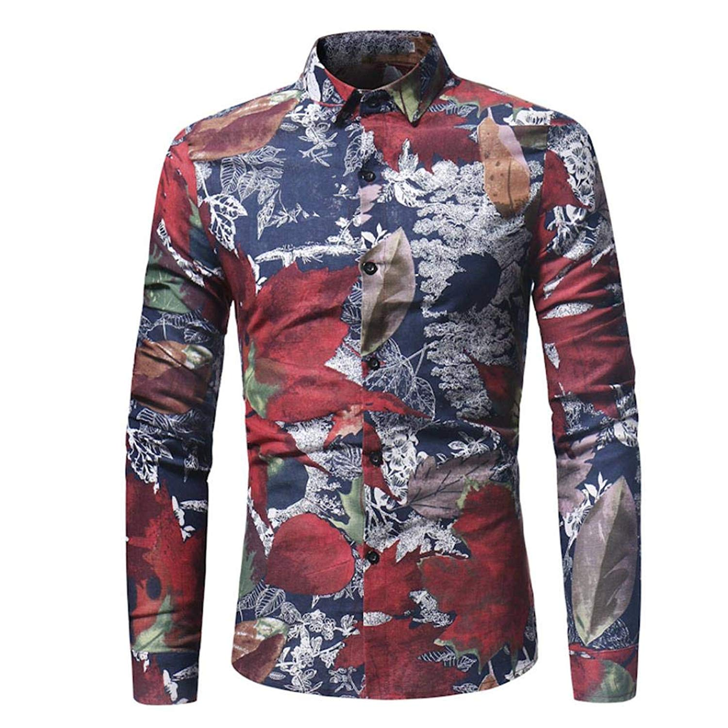 bf623b0b Get Quotations · Men Floral Shirts Maple Leaf Printed Slim Autumn Dress  Button Shirts Tops Zulmaliu(M-