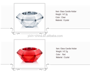 Crystal Glass Diamond Cut Tealight Candle Holder