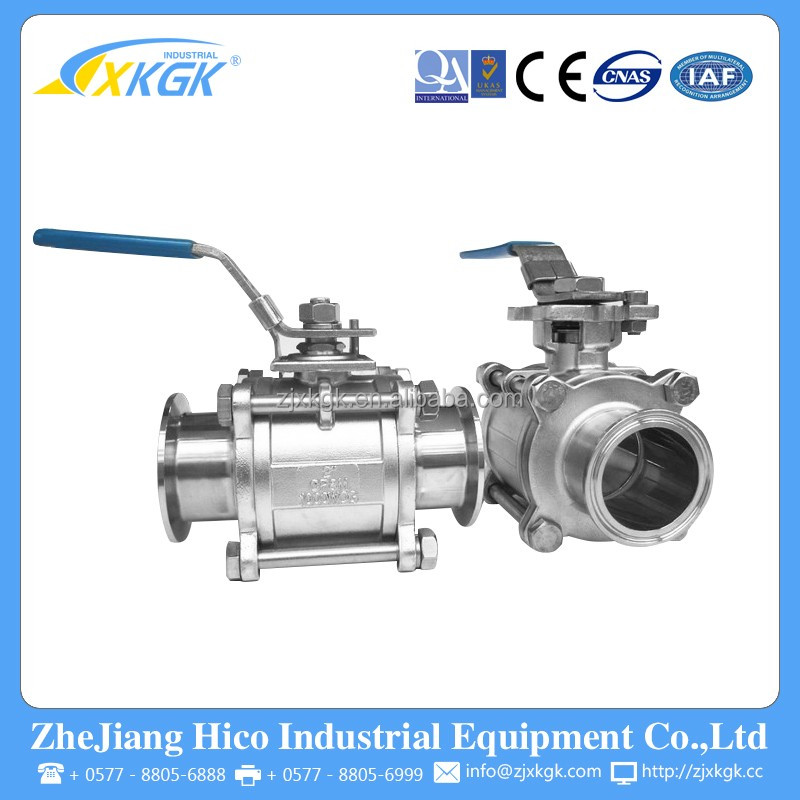 Factory direct hot sale high quality 304 stainless steel food grand 3PC ball valve