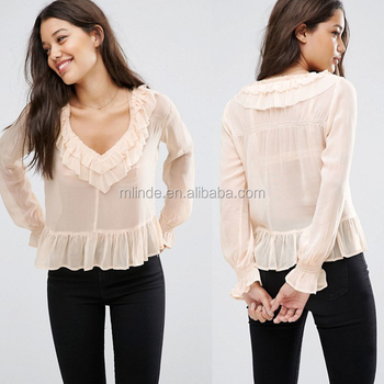 bb3ea93abe0b1 New Arrivels Women Fashion Designer Tops Ladies Sheer Blouse with Raw  Ruffle Wholesale Apparel Manufacturer
