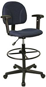 Ergonomic Multi Function Drafting Office Stool with Adjustable Arms (Adjustable - 26'' - 30.5''H or 22.5'' - 27''H), Navy by Everlast Furniture