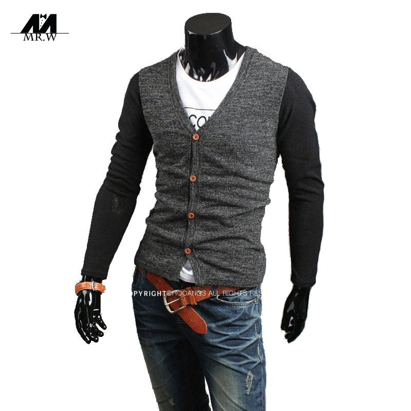 2015 New Autumn Cardigan Men Sweater Knitted Mens Sweaters V-Neck Slim Casual Sweater Male Brand Cardigan Masculino M-SW-940
