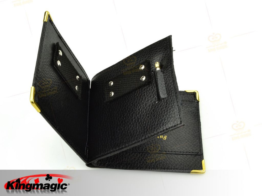 New Magic Trick Flame Fire Leather Wallet Street Magnetic Inconceivable Show Prop 5pcs