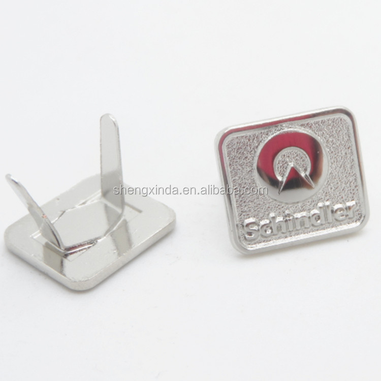 Fancy Plated Customized Metal Logo Label for Handbag Luggage Metal Logo Pin