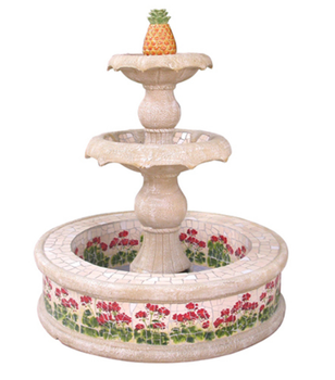Different Pattern Round Fountain, Three Layers Ceramics Mosaic Large  Fountain, Outdoor Garden Fish Pond