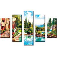 large hand painted canvas landscapes garden wall art diy diamond painting kit