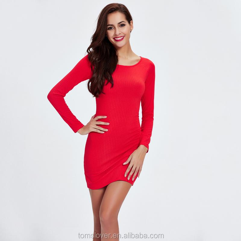 8efa0680ddd Hiver Automne Femmes Vêtements Classique Rouge Pur Noir Col rond Maillot  Moulante Manches Longues Robe Courte