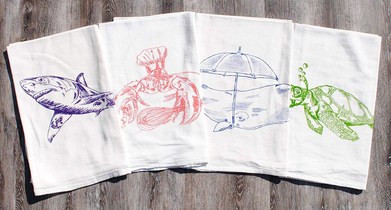 """Kitchen Dish Towel Set of 4 - 100% Cotton Flour Sack - 26"""" x 25"""" - Nautical Multi Color"""