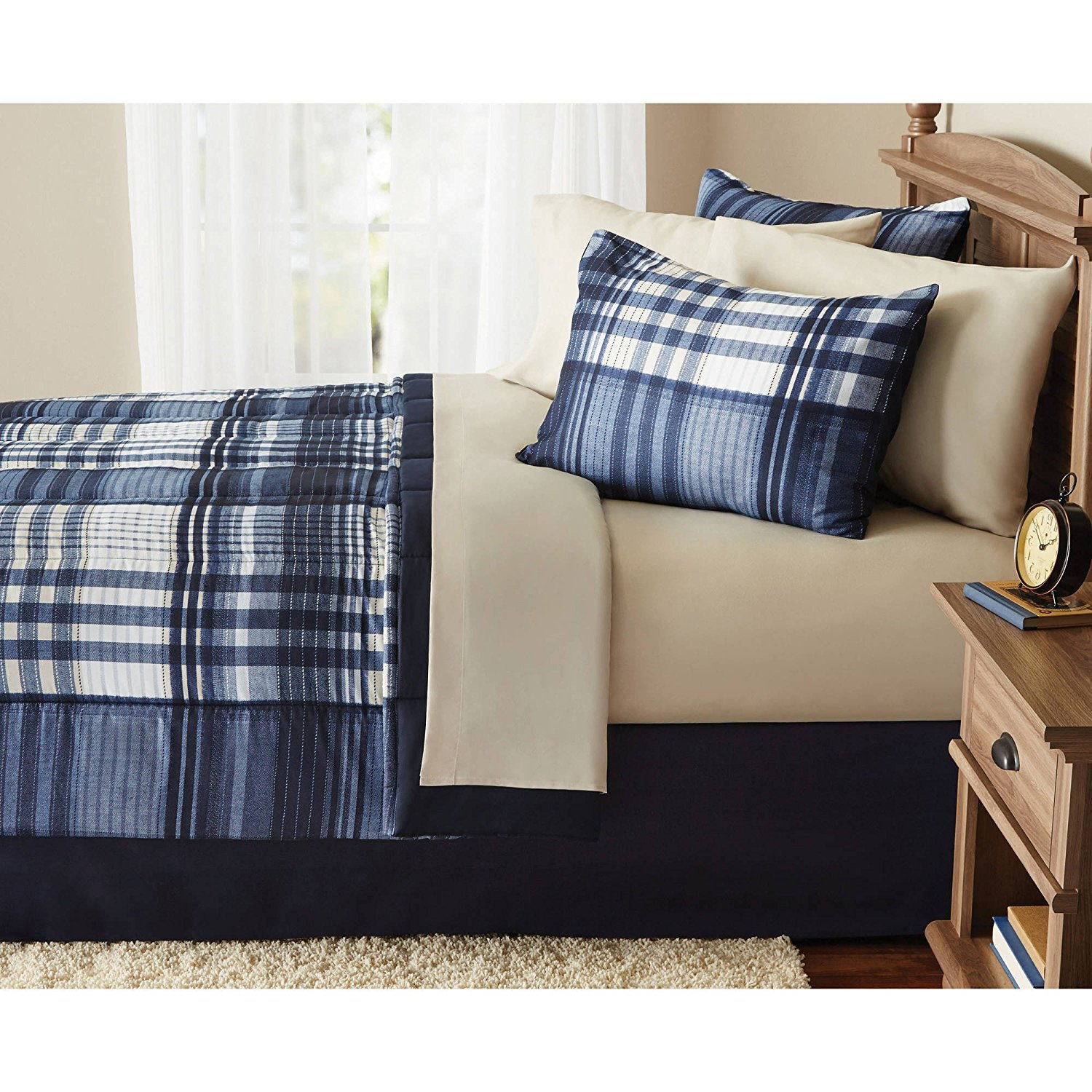 8 Piece Indigo Blue Plaid Checked comforters Queen Set With Sheets, White Checkered Gingham Lumberjack Madras Pattern, Modern Reversible Solid Dark Blue Color Adult Bedding Master Bedroom, Polyester