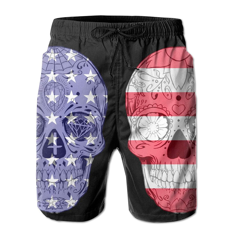 899e0e66b592b Get Quotations · Sugar Skull Usa Flag Black Elastic Waist Men's Boardshorts  Quick-drying Swim Trunks Board Shorts