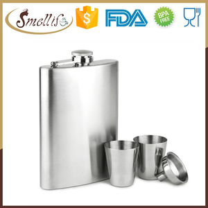 4pcs Wedding Party set stainless steel empty mini wine bottles 7 oz hip flask with flexible folding collapsible cup