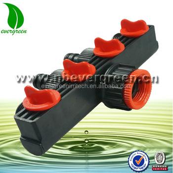 """4 Way 1//2/"""" 3//4/"""" Outdoor Water Tap to Garden Hose Lock Connector Splitter Adaptor"""