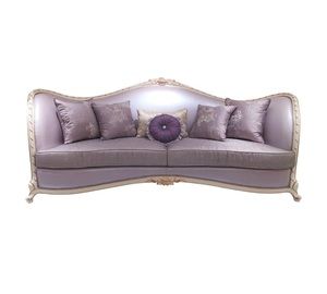 Carving Frame Royal Furniture Set Purple Couch Leather Wood And Fabric Sofa