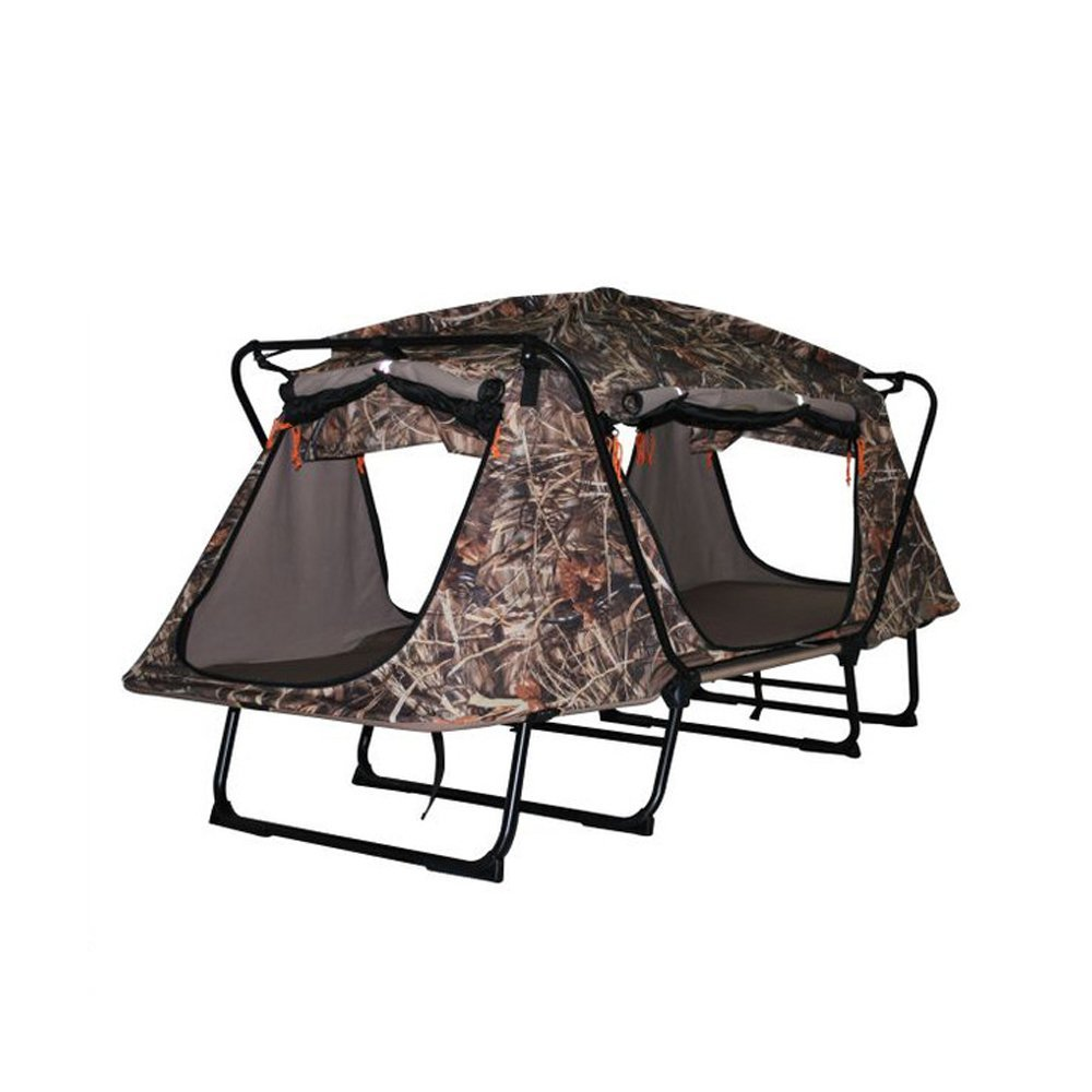 Tent Cot Elevated Camping Tent TOPIND Camouflage Hunting Tent Folding Waterproof 1-2 Person Oversize Double Tent Cot with Carry Bag