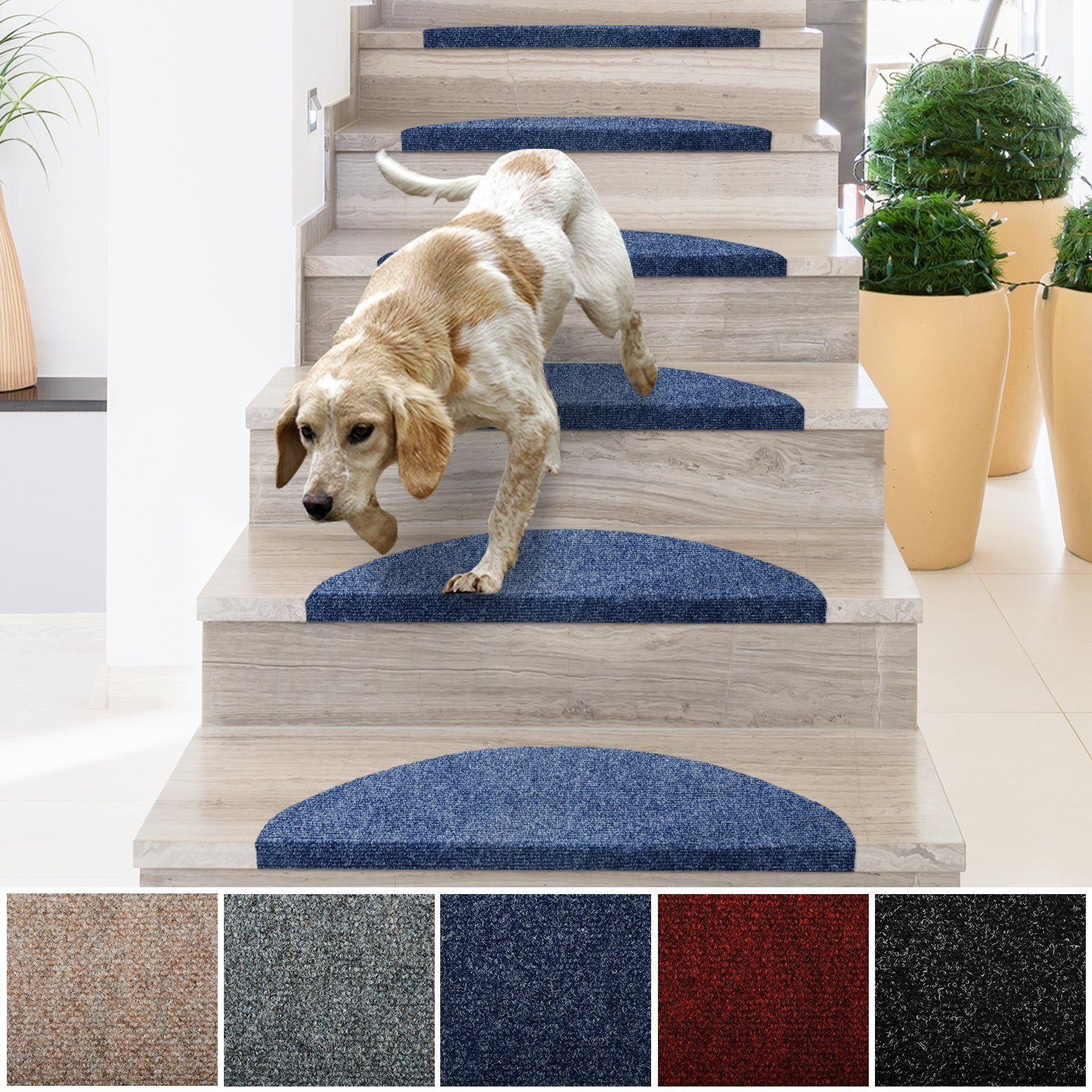 Get Quotations · Casa Pura Stair Treads | Non Slip Indoor Stair Protectors  | Set Of 15 Modern