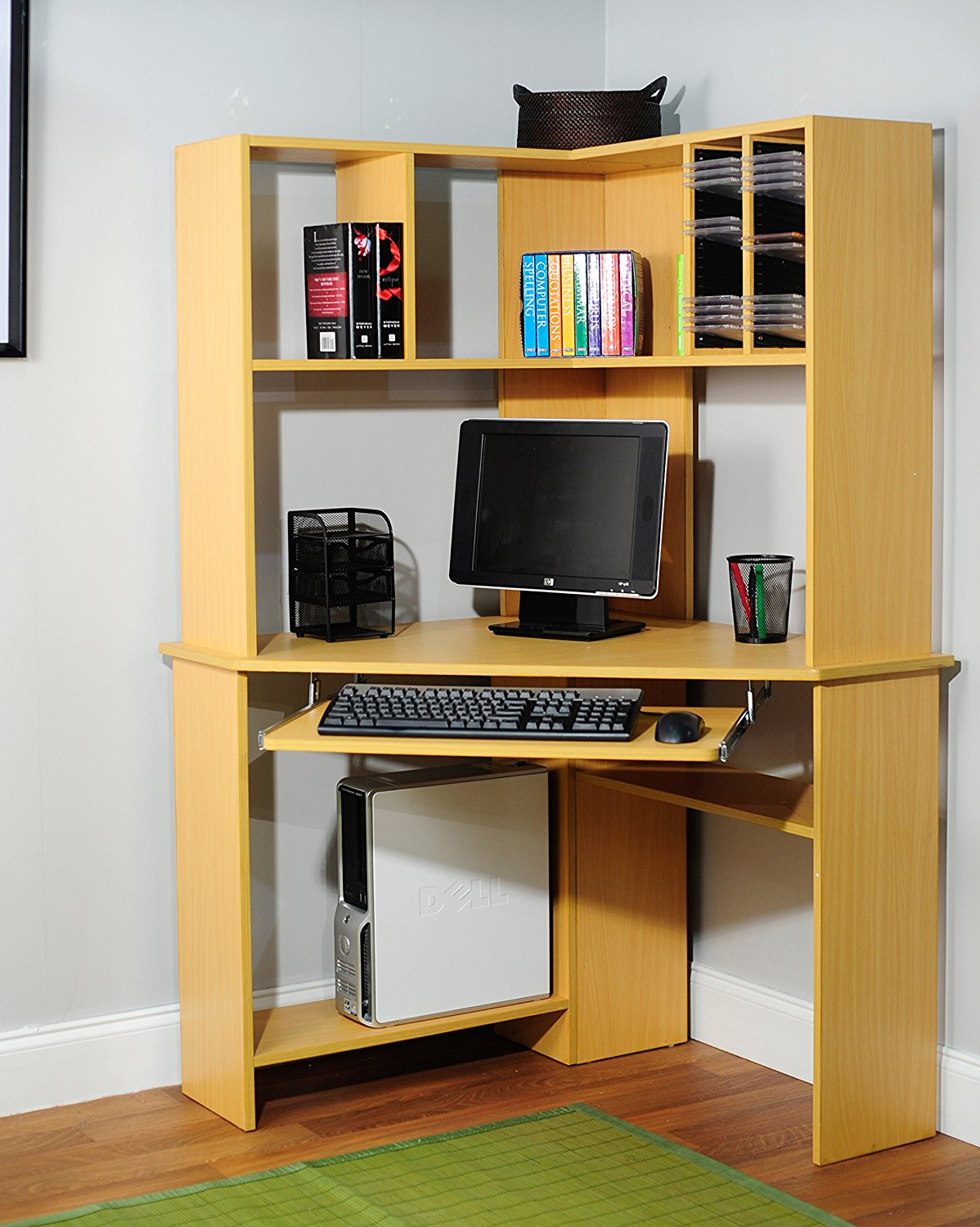 Target Marketing Systems Morgan Collection Ultra Modern Corner Computer Desk and Hutch With Keyboard Tray and CD/DVD Rack, Natural Wooden Finish