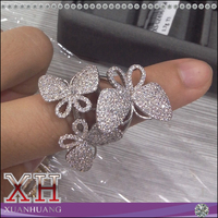 Elegant Design Ring Sterling Silver fine Pave Setting Butterfly Ring